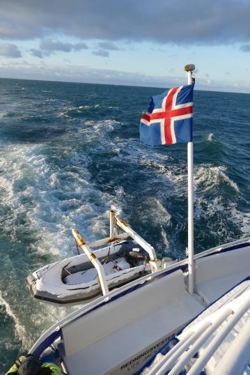 Das Rettungsboot für die ca. 100 Passagiere