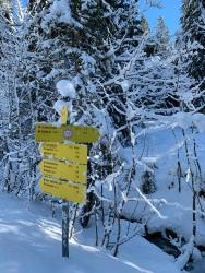 Ab nach rechts über das verschneite Brücklein und den Klausgraben